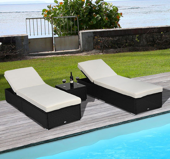 3pc Rattan Wicker Chaise Lounge Chair Set Outdoor Patio Garden