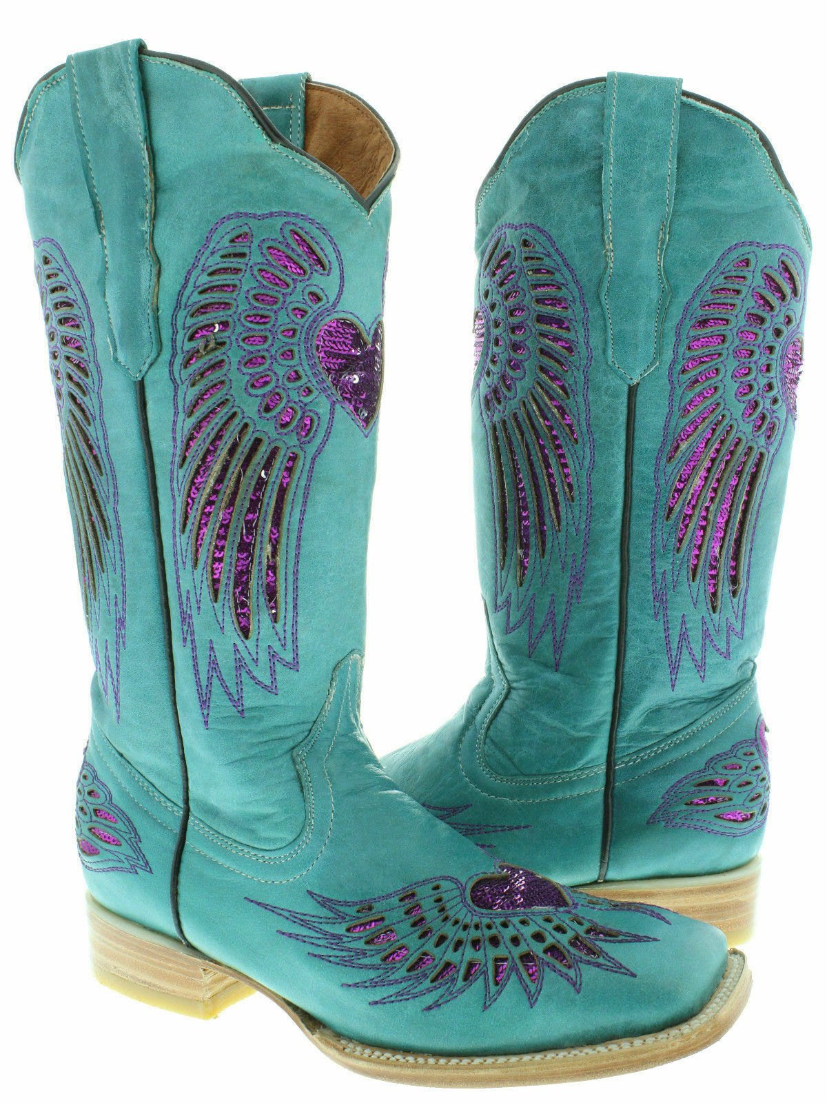 Women's Turquoise Heart Inlay Fuchsia lack Sequins Leather Cowboy Boots Square