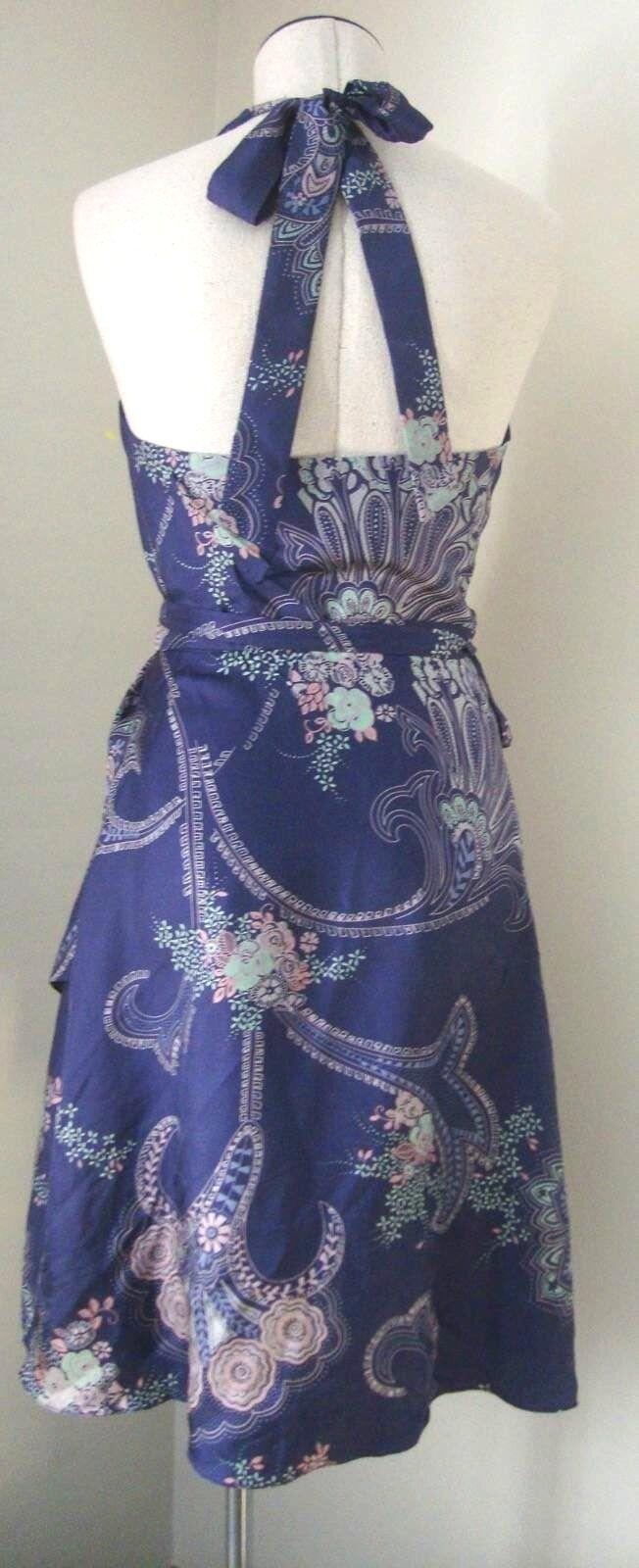 TIBI DEEP lila AUBERGINE PAISLEY FLORAL 100% SILK WRAP HALTER STYLE SUN DRESS