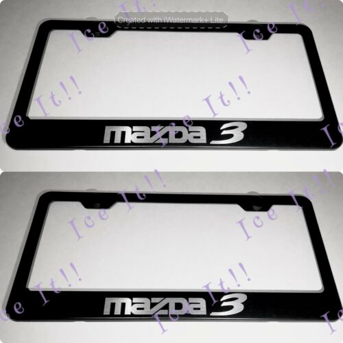 2X Mazda 3 Stainless Steel Black License Plate Frame Rust Free
