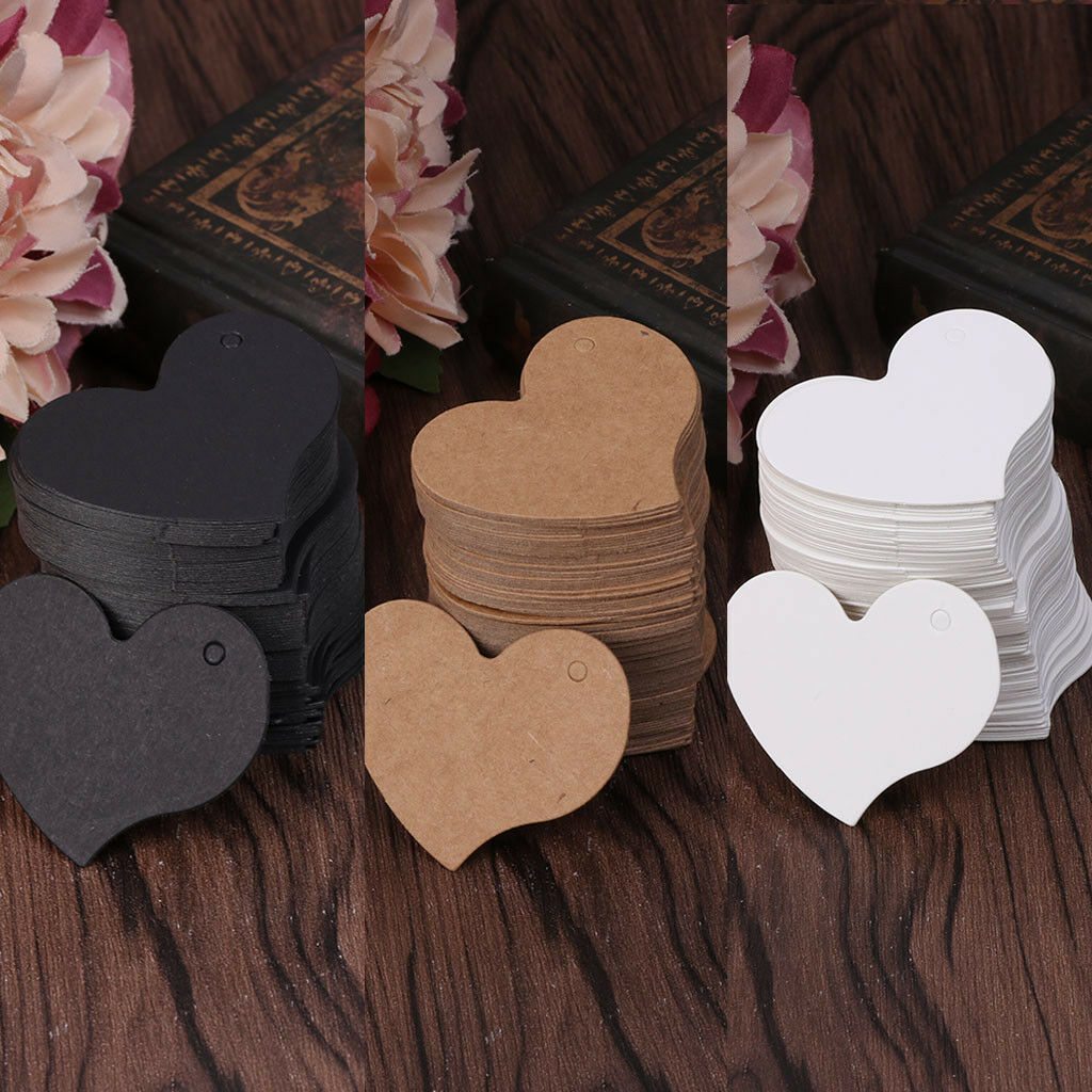 100Pcs Heart Blank Kraft Paper Hang Tags Luggage Wedding Favor Label Gift Cards