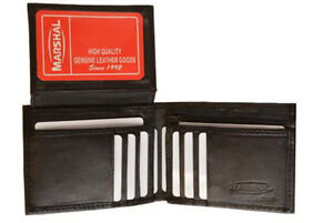 Men-039-s-Genuine-Leather-Thin-Bifold-Wallet-ID-Card-Zip-Flap-Top-Front-Pocket