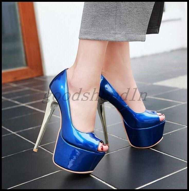 2017 New Womens Open Toe 16CM High Heels Pumps Shiny Slip On Party shoes Plus SZ