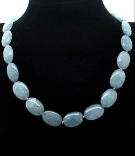 "Pretty 13x18mm natural aquamarine Flat Oval Gemstone Beads Necklace 18/"" JN379"