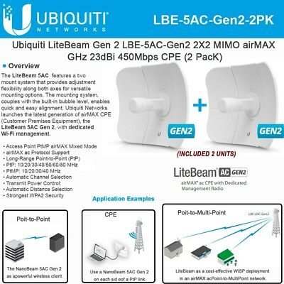 Ubiquiti LBE-5AC-Gen2 LiteBeam AC 2-PACK 5 GHz , Gen2 International Version  703624197605 | eBay