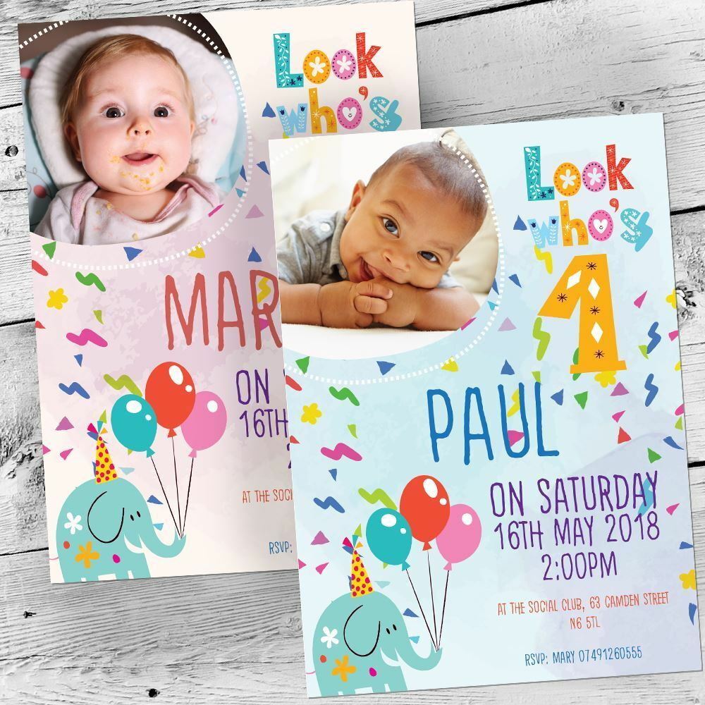 1st First Birthday Invitations Party Invites Personalised Girl Boy Photo