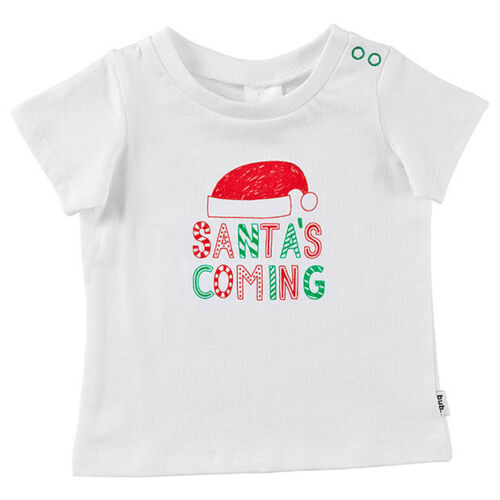 Boys size 000 00 0  or 1  White  SANTA/'S COMING CHRISTMAS  t-shirt NEW cotton