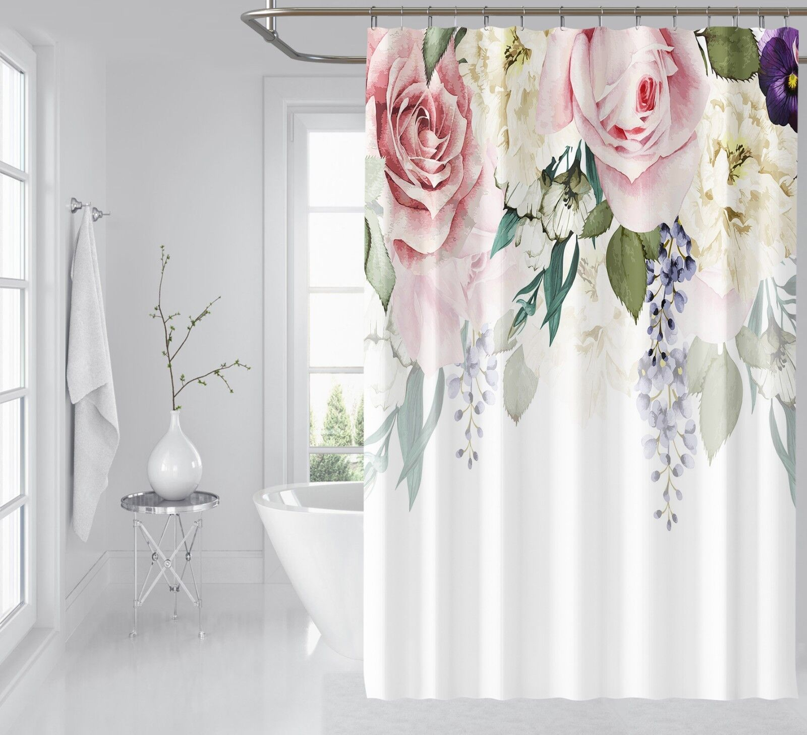 3D Fiore Bloom 425 Tenda da doccia IMPERMEABILE Fibra Bagno WC CASA FINESTRE