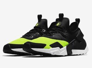 887c1830f107 Men s Nike Air Huarache Drift Run Shoes Black Volt White AH7334-700 ...