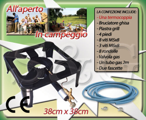 TUBO TERMOCOPPIA FASCETTE FORNELLONE A GAS CM 38 X 38 METALLO SMALTATO
