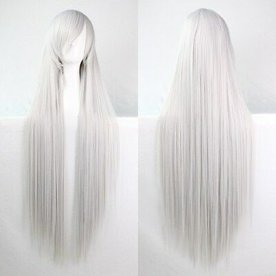 New Fashion Womens Multicolor Long Straight Wig Anime Cosplay Party Wig 80/100cm
