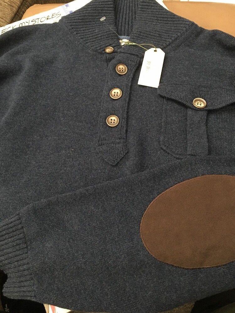 New   Peter Millar Merino Wool Cotton Henley Men's Sweater  NAVY Size 2XL