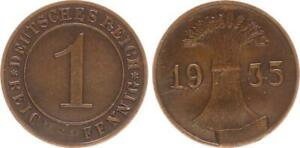 Weimar 1 Empire Pfennig 1935 Lack Coinage: Stempelausbruch No Mint Mark Vf-Xf