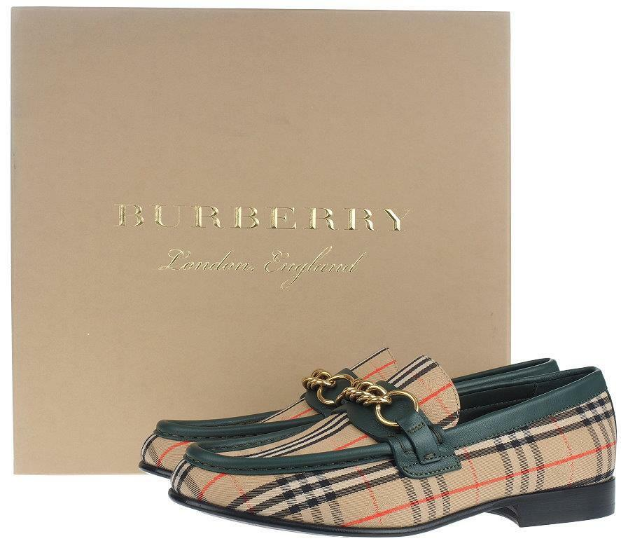 NEW BURBERRY LADIES MOORLEY SIGNATURE CHECK CANVAS LEATHER LOAFERS chaussures 37.5