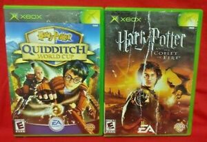 Harry-Potter-Goblet-Fire-Quidditch-Cup-2-Game-Lot-Microsoft-Xbox-OG-Tested