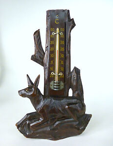 Extraordinary-Thermometer-um-1920-Wood-Hunting-Deer-B-554