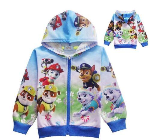 22019 Boys /& Girls Paw Patrol Doll Pocket Zip-Up Hoodie Jacket Sweatshirt ZG9
