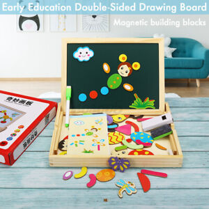 Wooden-Magnetic-Drawing-Board-Toy-Educational-Doodle-Pad-Puzzle-For-Children