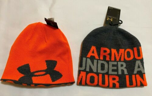 NEW with Tags under Armour Reversible  youth Boys  Beanie-gray //orange
