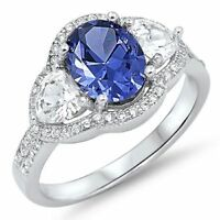 925 Sterling Silver Tanzanite Cz Clear Cocktail Three Stones Ring Size 9