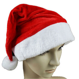 Christmas-Cap-Thick-Ultra-Soft-Plush-Santa-Claus-Holiday-Fancy-Dress-Hat-oc
