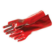 400mm Red PVC Gauntlet Gloves - One Size - Protective Wear