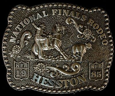 1985 Vintage Hesston National Finals Rodeo Youth Size Belt Buckle FREE SHIPPING