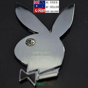 3D Bunny Rabbit Playboy Chrome Metal Badge Emblem Sticker Decal Car ...
