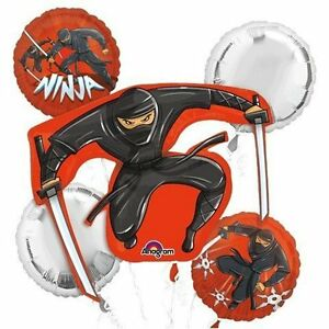Anagram-Black-Ninja-Birthday-Party-Favor-5CT-Foil-Balloon-Bouquet
