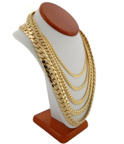 """Men/'s Miami Cuban link Chain 5mm to 12mm wide 20/"""" 22/"""" 24/"""" 26/"""" 30 14k Gold Plated"""