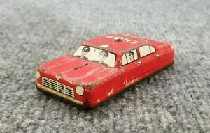 VINTAGE-TIN-LITHO-FRICTION-TOY-FIRE-CHIEF-CAR-4-034-LONG-MADE-IN-JAPAN