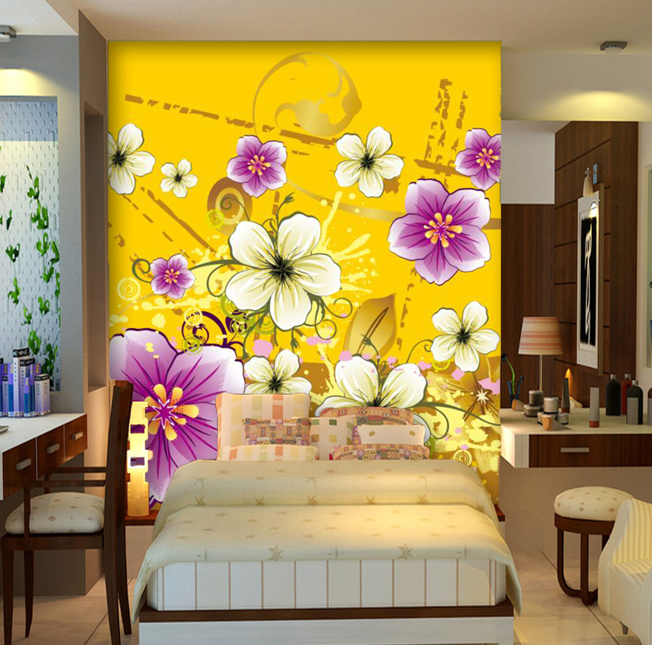 3D TFloral cartoon Farbeful Wall Paper Print Decal Wall Deco Indoor wall Mural