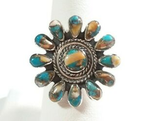 925-STERLING-SILVER-ROUND-BRAIDED-FLOWER-SPINY-OYSTER-amp-TURQUOISE-SIZE-8-RING