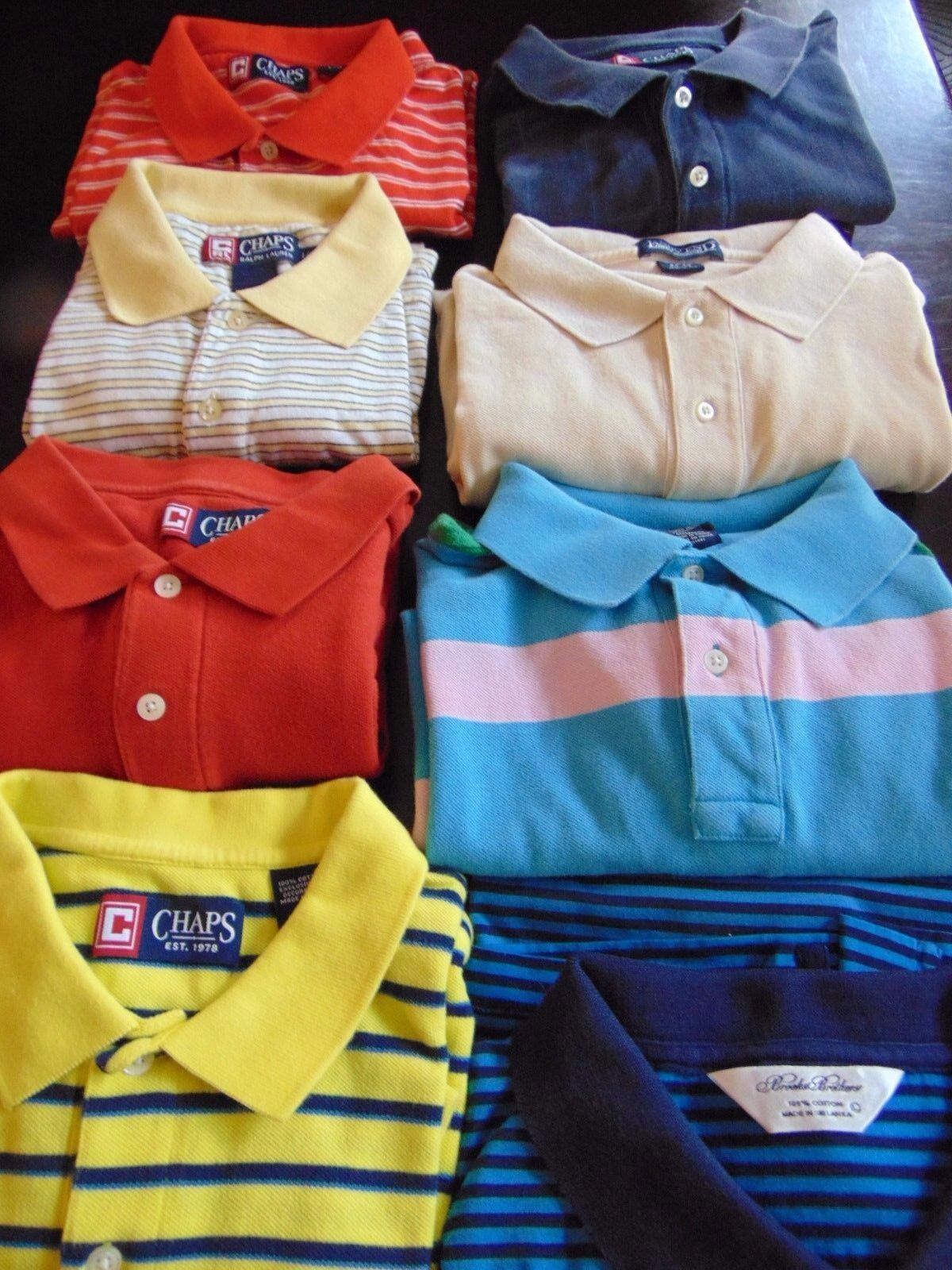 b5854950c7 Lot of 8 Mens L Polo Brooks Bredhers 1 Land's End 1 RL 1 Good Cond ...