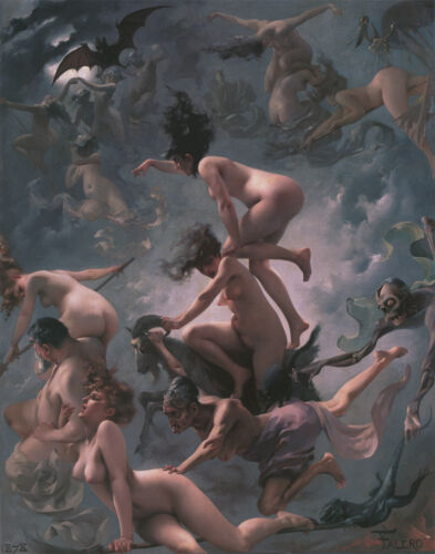 Witches Going to their Sabbath 1878 Luis Ricardo Flying Naked 6x5 Inch Print