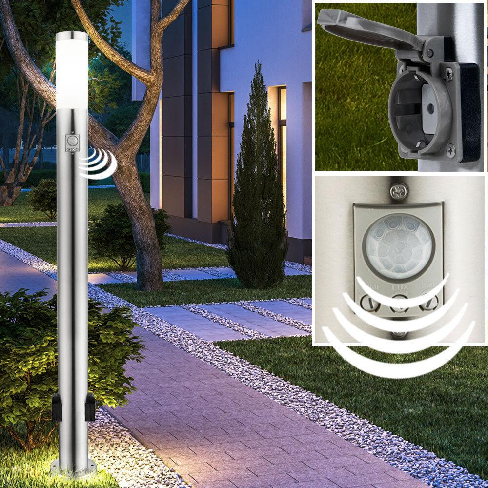 Esterno Lampada Stand Piantana prese di corrente luce Socket in acciaio inox rilevatore di movimento ip44