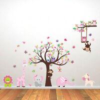 Wandtattoo Wandsticker Kinderzimmer Aufkleber Tiere Elefant Wald Affe Baum Löwe