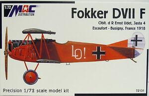Fokker-D-VII-F-muchos-PINTURAS-Udet-Mac-1-72-WK-I-escultura