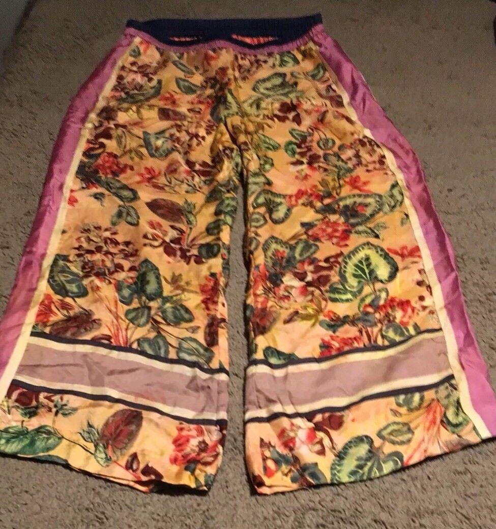 Anthropologie Elevenses Gardener 100% Silk Cropped Wide Leg Pant Small NWOT  128