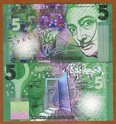 SPECIMEN Kamberra 5 Numismas, 2016, UNC > Green Salvador Dali, only 5 issued