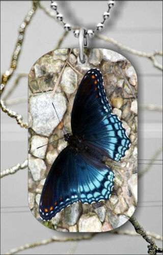 BLUE BUTTERFLY #6 DOG TAG PENDANT NECKLACE FREE CHAIN n3g7