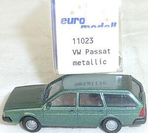 Vw-passat-BJ-1981-dgrun-Metallic-Mesureur-EUROMODELL-11023-h0-1-87-OVP-9-GA-5-a