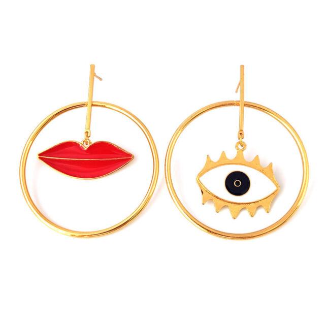 Asymmetric Lip Evil Eye Drop Earrings Party Ear Jewelry For Lady T