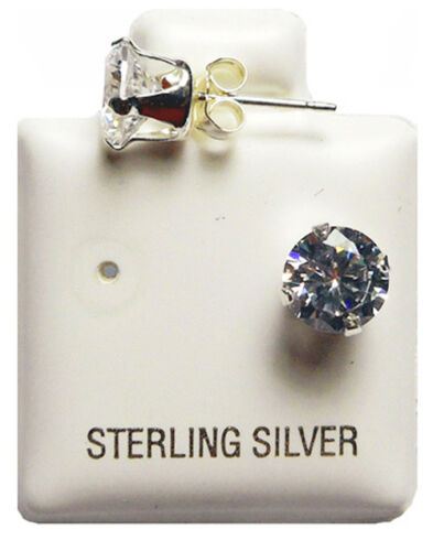 Twinkle Star Stud Earrings Sterling Silver 925 Cubic Zirconias 14k White Gold Plated