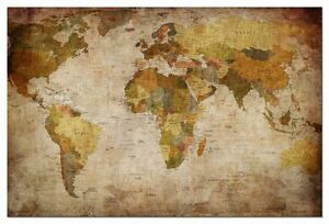 Image Is Loading Antique Vintage Wall Canvas World Map Globe Home