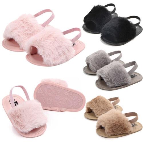 Kids Infant Toddler Baby Girls Letter Flock Soft Sandals Slipper Casual Shoes SL