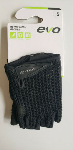 Choose Size Below Evo E-Tec Retro Mesh Short Finger Cycling Gloves Mens Black