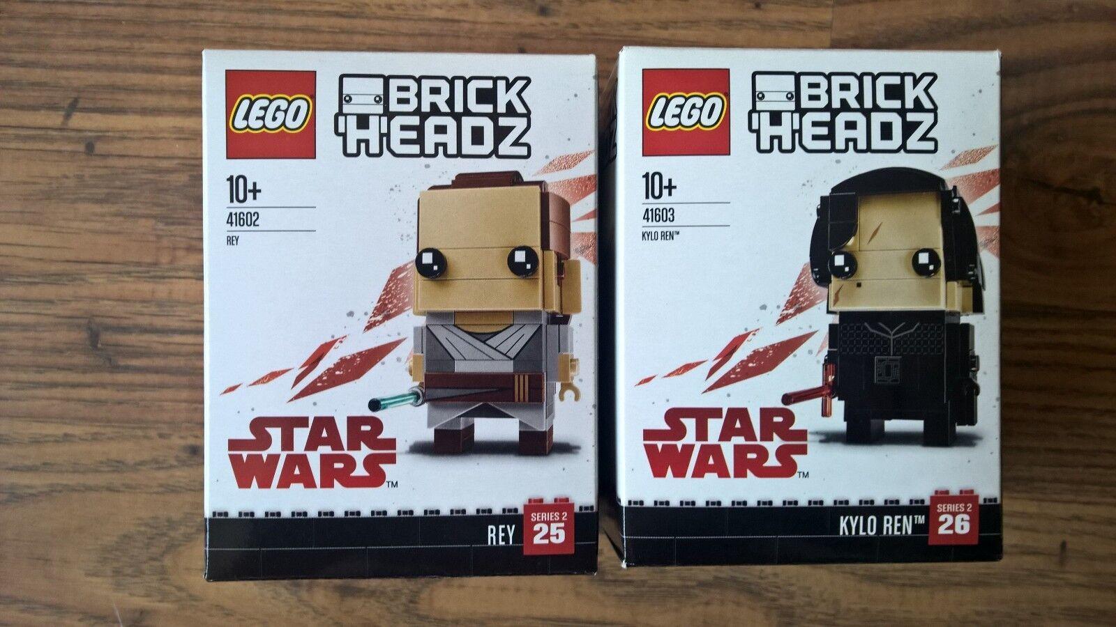 LEGO 41602 AND 41603 - REY AND KYLO REN - STAR WARS - BRICKHEADZ - NEW  SEALED