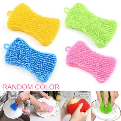4x Silikon Schwamm Scrubber Küche Werkzeug Waschen Haushalt Reinigung Bürste dn