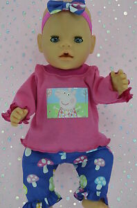 Play-n-Wear-Doll-Clothes-To-Fit-17-034-Baby-Born-MUSHROOM-PANTS-TOP-HEADBAND